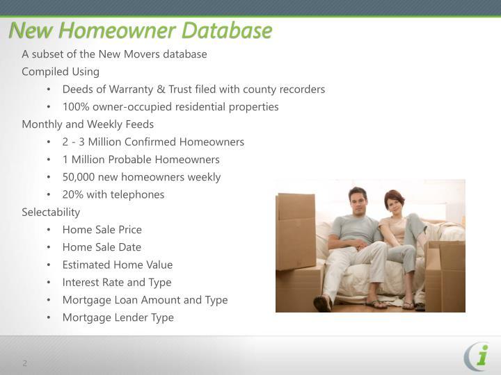 New Homeowner Database