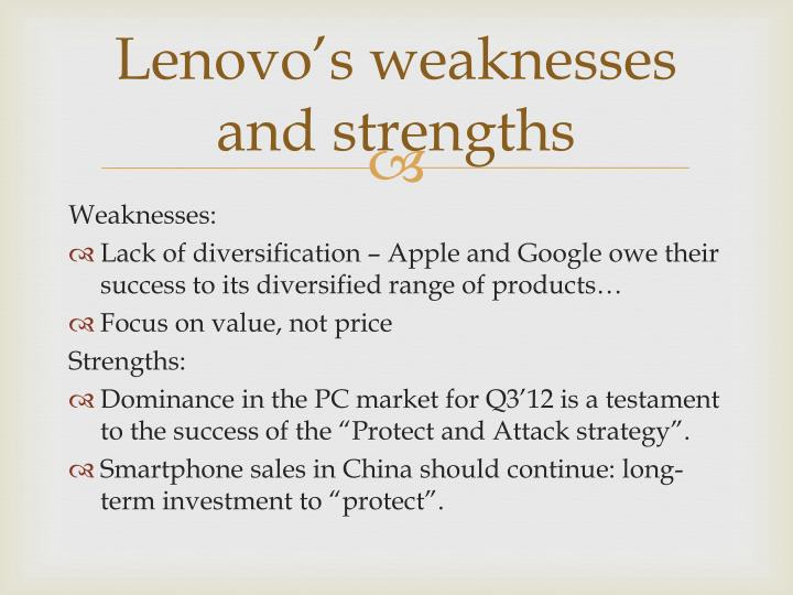 Lenovo's weaknesses and strengths