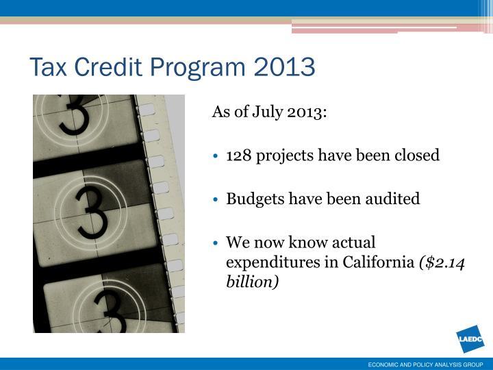 Tax Credit Program 2013