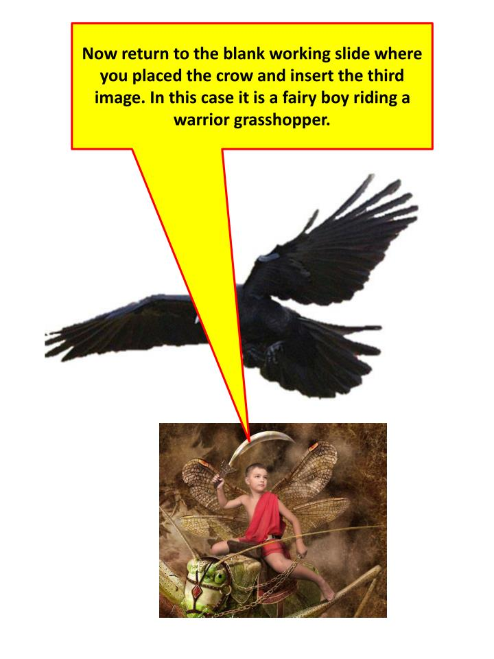 Now return to the blank working slide where you placed the crow and insert the third image. In this case it is a fairy boy riding a warrior grasshopper.