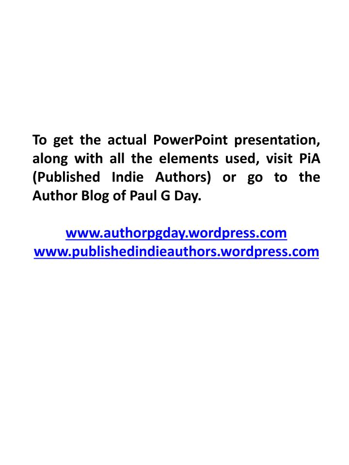 To get the actual PowerPoint presentation, along with all the elements used, visit