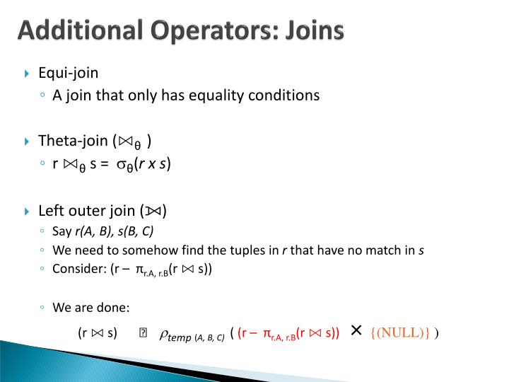 Additional Operators: Joins