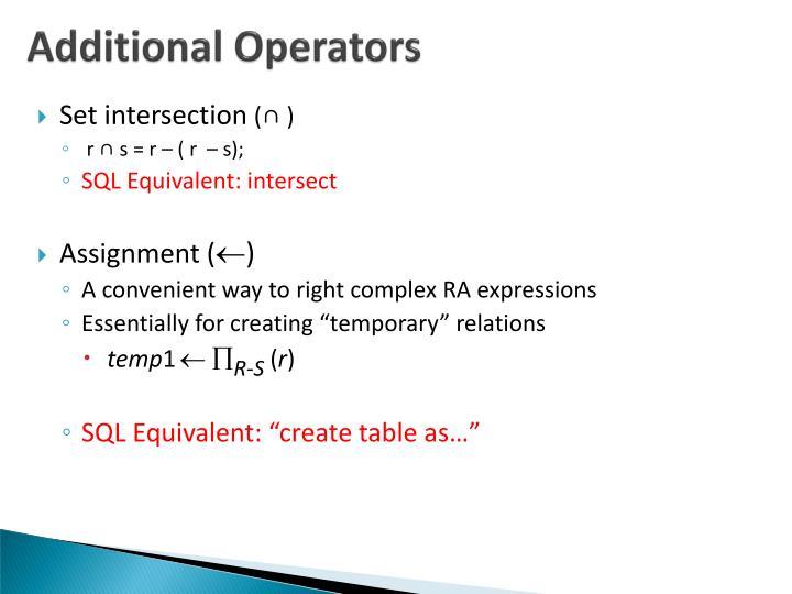 Additional Operators