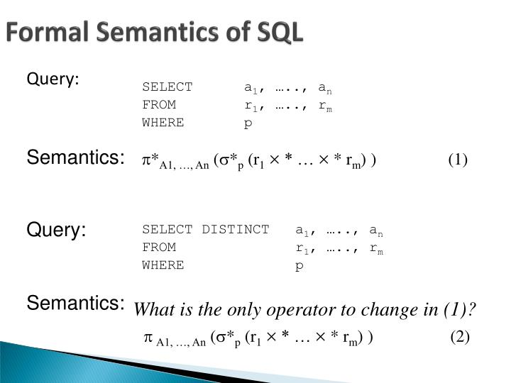 Formal Semantics of SQL