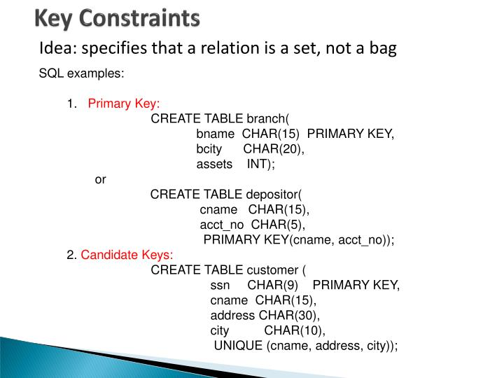 Key Constraints