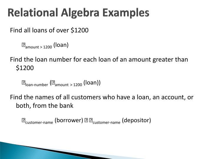 Relational Algebra Examples