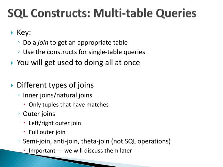 SQL Constructs: Multi-table Queries