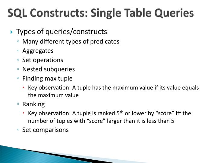 SQL Constructs: Single Table Queries