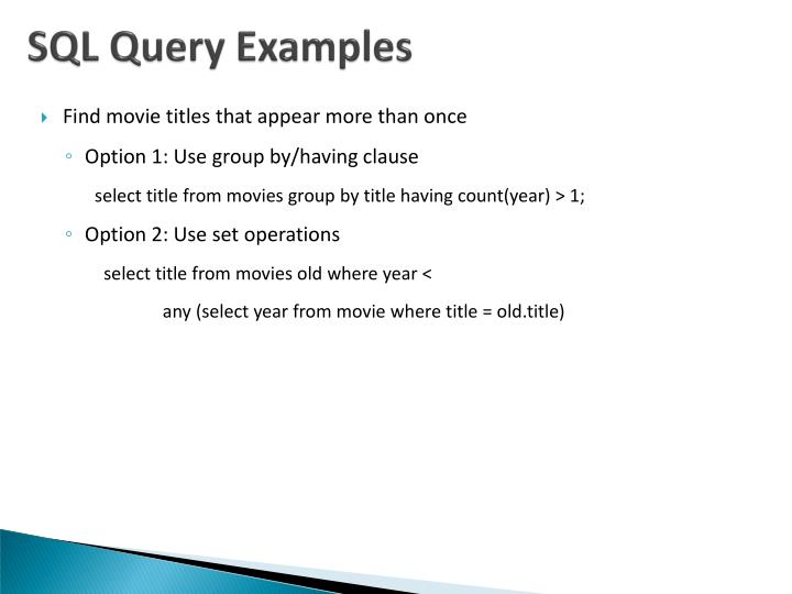 SQL Query Examples