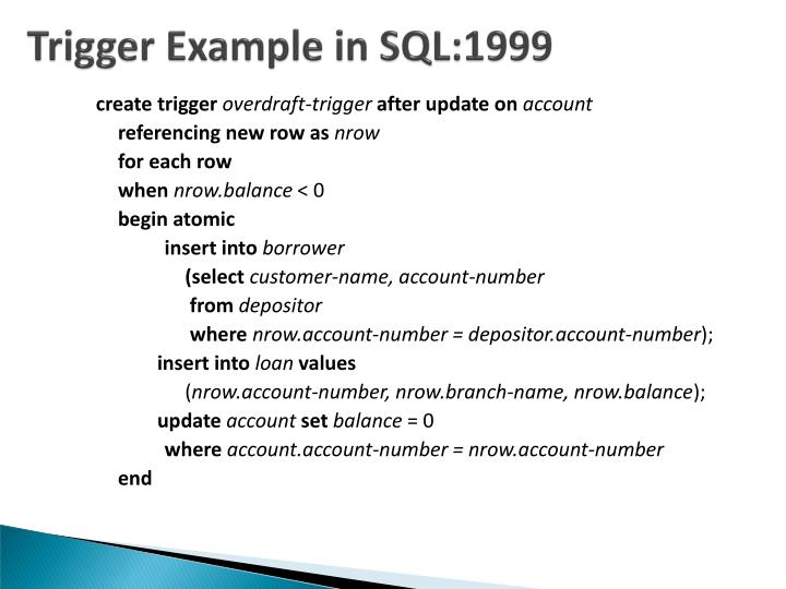 Trigger Example in SQL:1999
