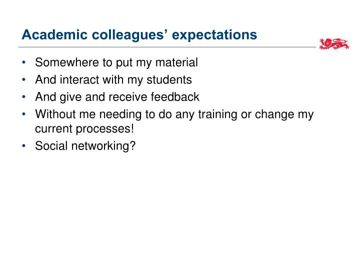 Academic colleagues' expectations