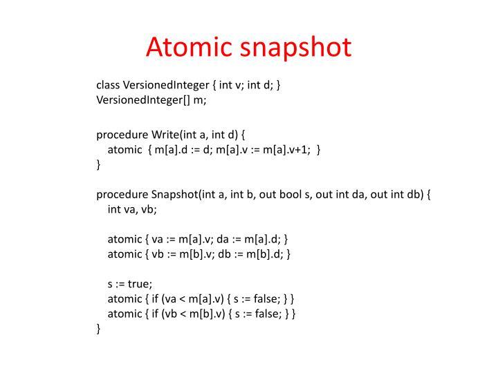 Atomic snapshot