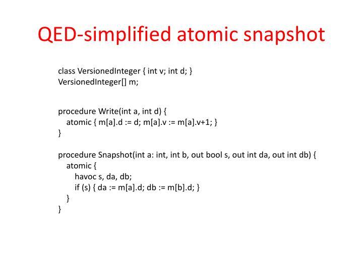 QED-simplified atomic snapshot