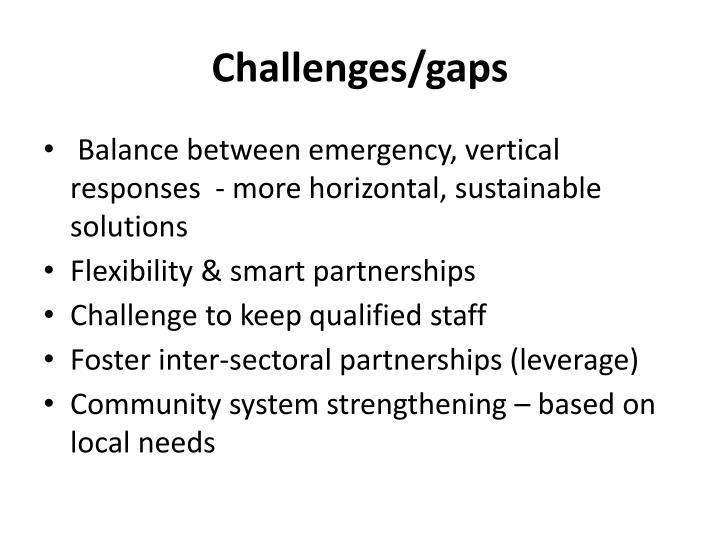 Challenges/gaps