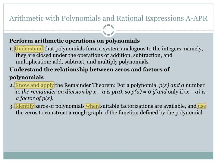 Arithmetic with Polynomials and Rational Expressions A-APR