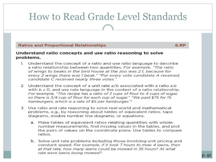How to Read Grade Level Standards