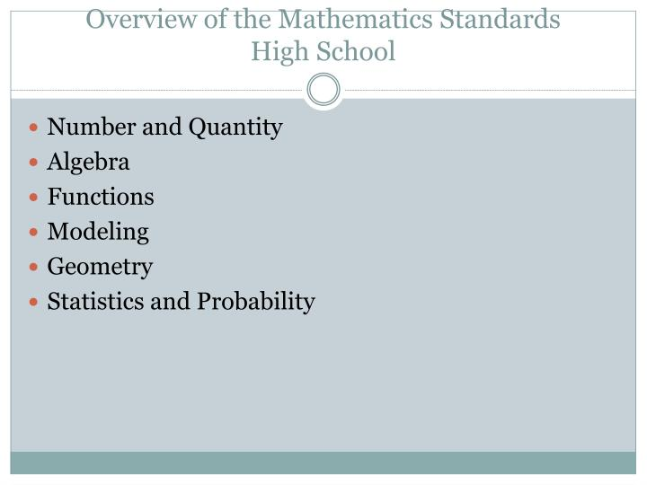 Overview of the Mathematics Standards