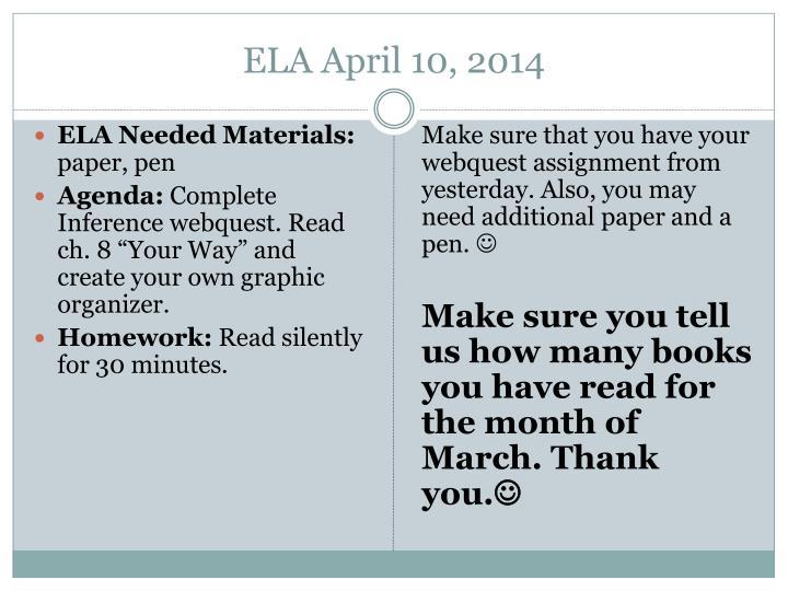 ELA April 10, 2014