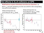 hot effects in a a collisions at sps