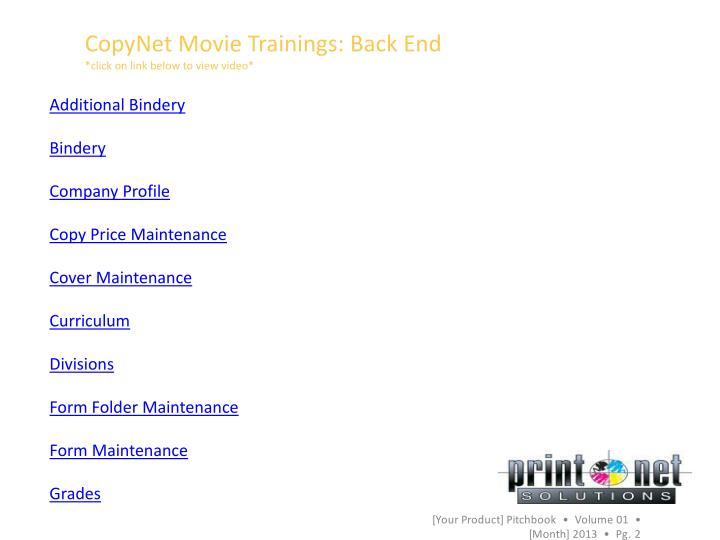 CopyNet Movie Trainings: Back End