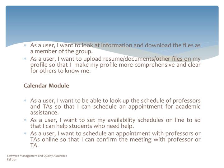 Software Management and Quality Assurance                                                           Fall 2011