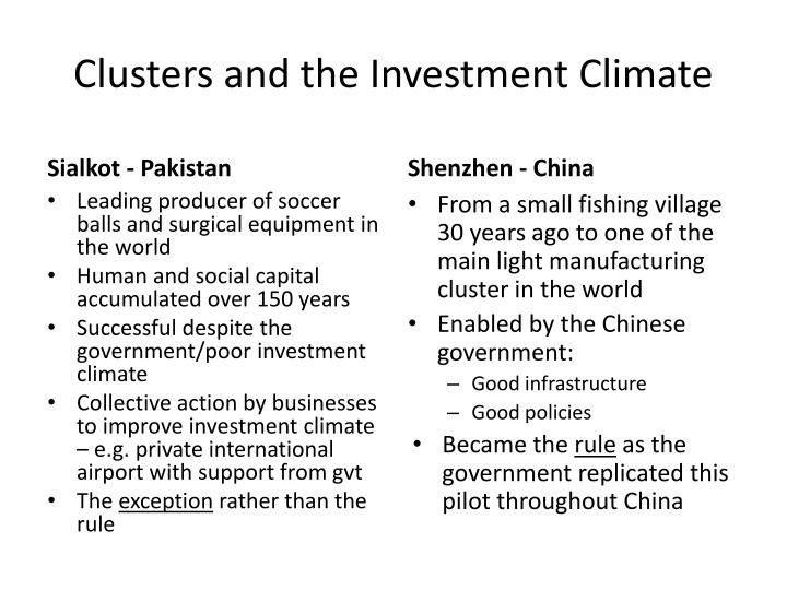 Clusters and the Investment Climate