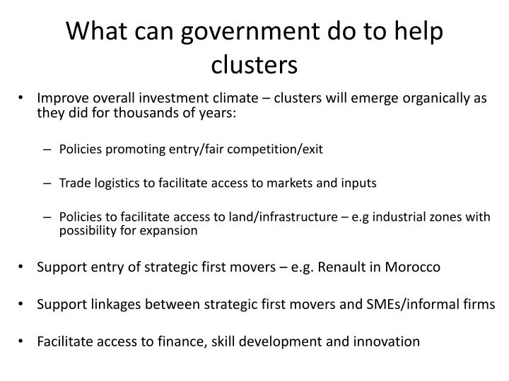 What can government do to help clusters
