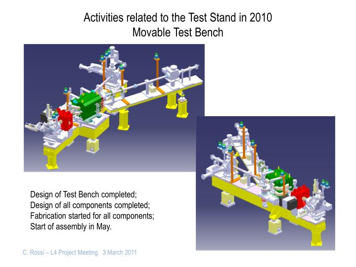 Activities related to the Test Stand in 2010