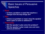 basic issues of persuasive speeches