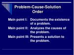problem cause solution order