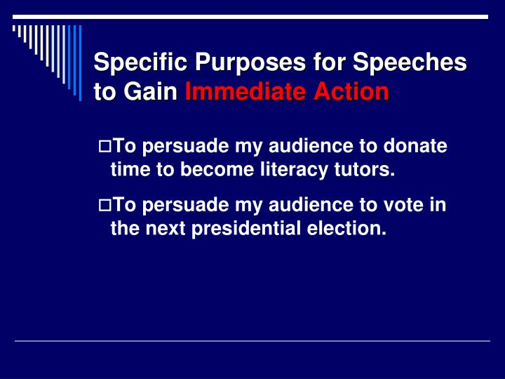 Specific Purposes for Speeches