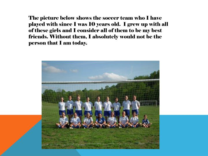 The picture below shows the soccer team who I have played with since I was 10 years old.  I grew up with all of these girls and I consider all of them to be my best friends. Without them, I absolutely would not be the person that I am today.