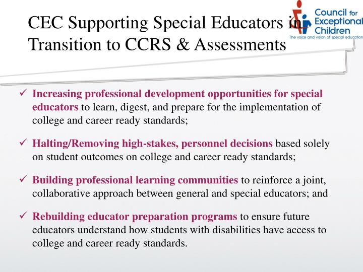 CEC Supporting Special Educators in Transition to CCRS & Assessments