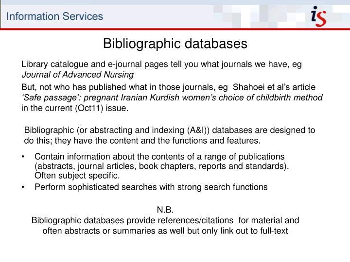 Bibliographic databases