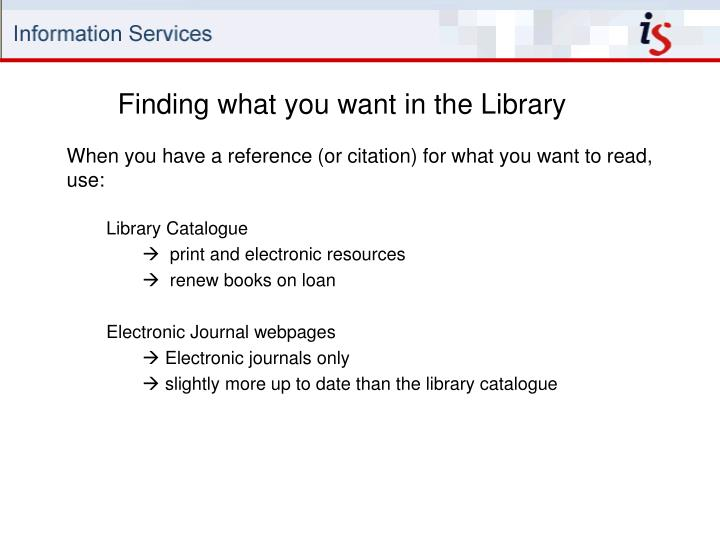 Finding what you want in the Library