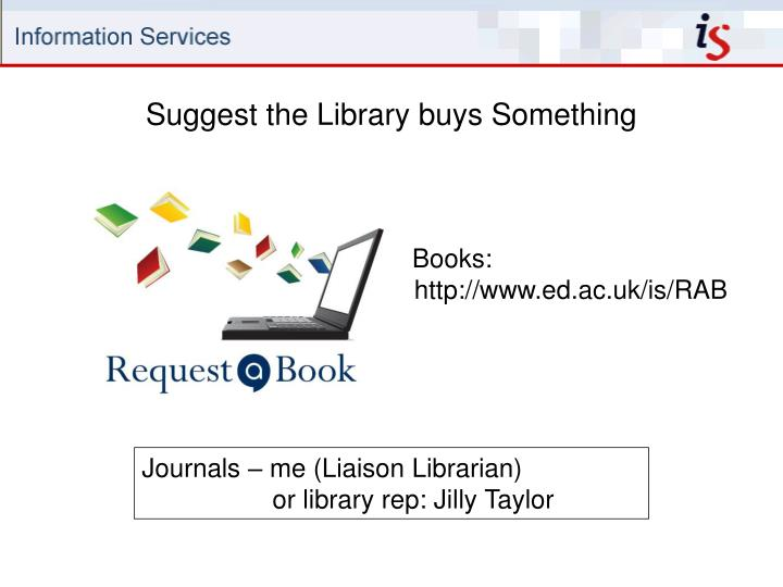 Suggest the Library buys Something
