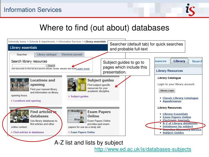 Where to find (out about) databases