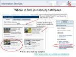where to find out about databases