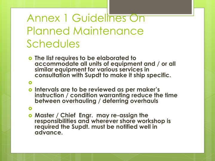 Annex 1 Guidelines On Planned Maintenance Schedules