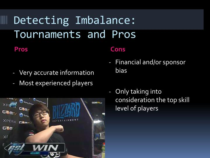 Detecting Imbalance: Tournaments and Pros