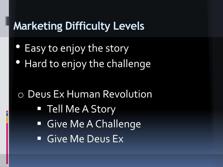 Marketing Difficulty Levels