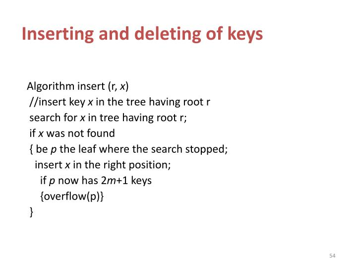 Inserting and deleting of keys