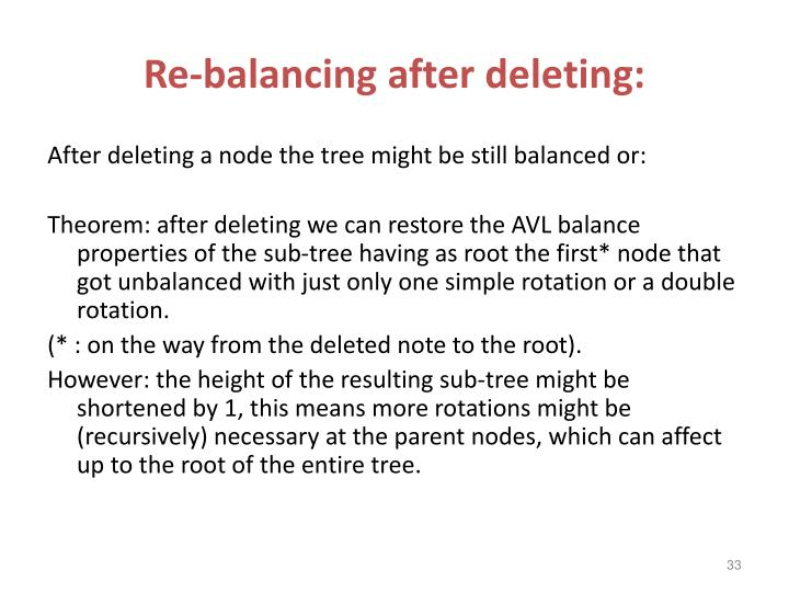 Re-balancing after deleting: