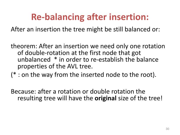 Re-balancing after insertion: