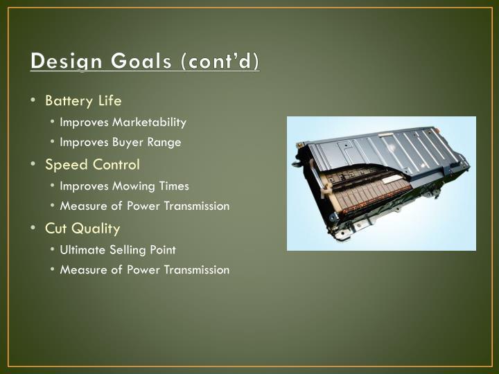 Design Goals (cont'd)