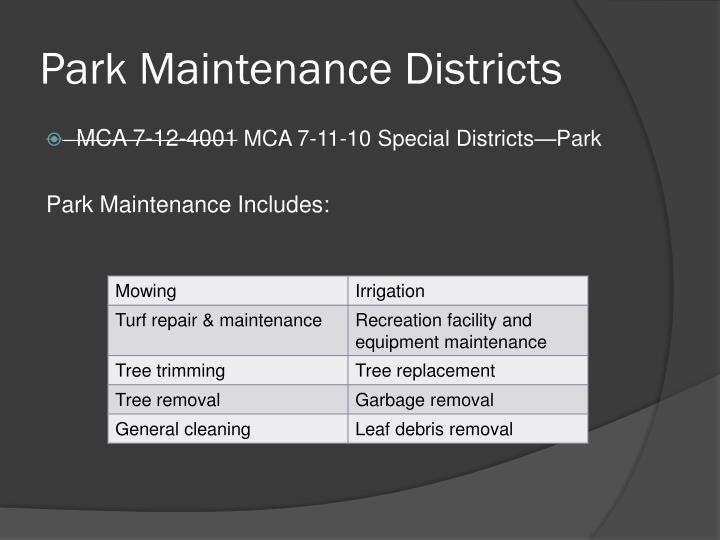 Park Maintenance Districts