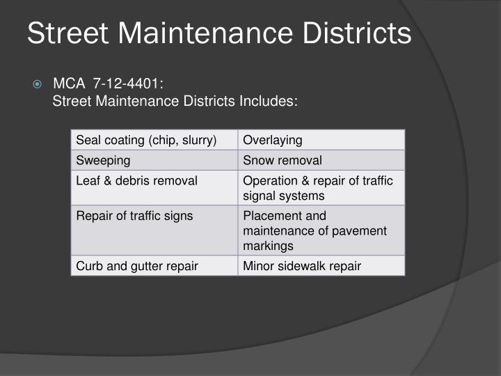 Street Maintenance Districts