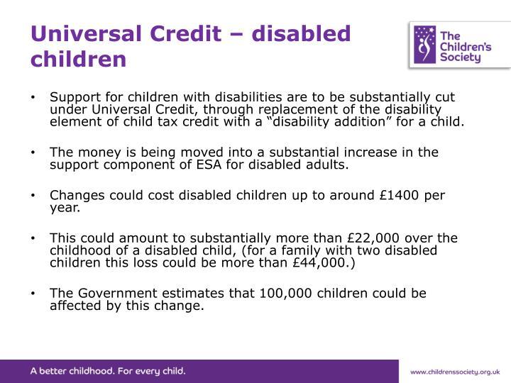 Universal Credit – disabled children