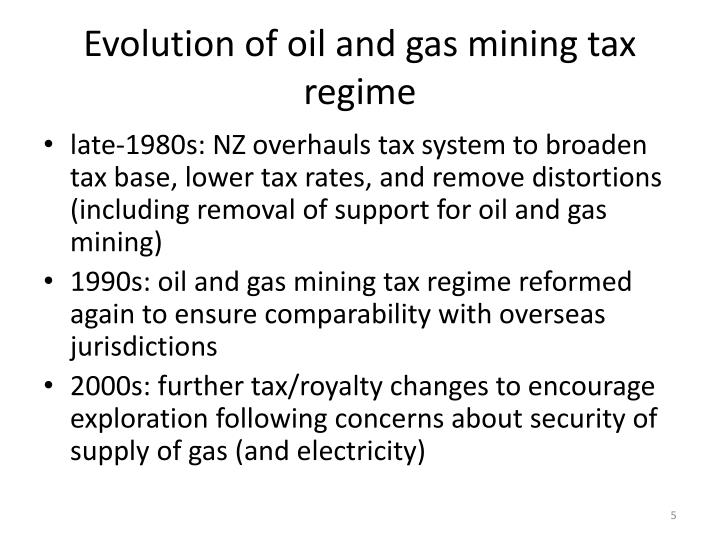 Evolution of oil and gas mining tax regime