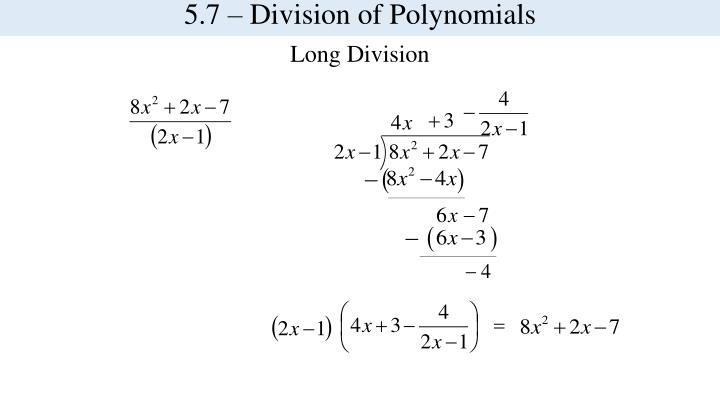 5.7 – Division of Polynomials